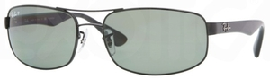 Ray Ban RB3445 Black w/ Polarized Crystal Green Lenses 002/58