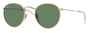 Ray Ban RB3447 Round Metal Arista Gold with Crystal Green Lenses