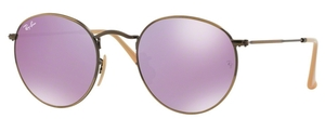 Ray Ban RB3447 Round Metal DemiGlos Brusched Bronze with Lillac Mirror Lenses