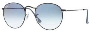 Ray Ban RB3447 Round Metal Matte Black with Crystal Gradient Light Blue Lenses