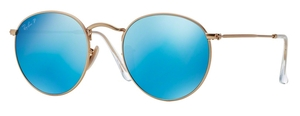 Ray Ban RB3447 Round Metal Matte Gold w/ Blue Mirror POLAR Lenses