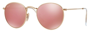 Ray Ban RB3447 Round Metal Matte Gold w/ Brown Mirror Pink Lenses