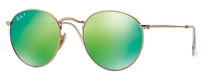 Ray Ban RB3447 Round Metal Matte Gold w/ Green Mirror POLAR Lenses