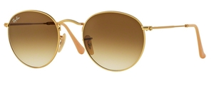 Ray Ban RB3447 Round Metal Matte Gold with Clear Gradient Brown Lenses