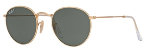 Ray Ban RB3447 Round Metal Matte Gold with Polarized Green Lenses