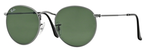 Ray Ban RB3447 Round Metal Matte Gunmetal w/ Crystal Green Lenses