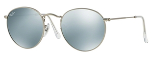 Ray Ban RB3447 Round Metal Matte Silver w/ Light Green Mirror Silver Lenses