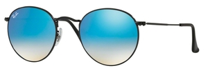 Ray Ban RB3447 Round Metal Shiny Black w/ Mirror Gradient Blue Lenses