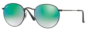 Ray Ban RB3447 Round Metal Shiny Black with Mirror Gradient Green Lenses