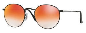Ray Ban RB3447 Round Metal Shiny Black with Mirror Gradient Red Lenses