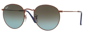 Ray Ban RB3447 Round Metal Shiny Dark Bronze with Blue Gradient Brown Lenses