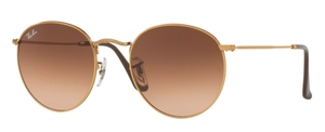 Ray Ban RB3447 Round Metal Shiny Light Bronze with Pink Gradient Brown Lenses