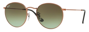 Ray Ban RB3447 Round Metal Shiny Medium Bronze with Green Gradient Brown Lenses