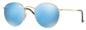 Ray Ban RB3447N Shiny Gold with Crystal Light Blue Flash Lenses