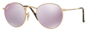 Ray Ban RB3447N Shiny Gold with Crystal Wisteria Flash Lenses