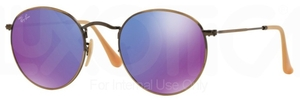 Ray Ban RB3447 Round Metal Brushed Bronze Demi Shiny with Mirror Violet Lenses