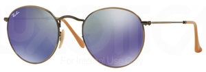 Ray Ban RB3447 Round Metal Demigloss Brushed Bronze with Blue Mirror Lenses