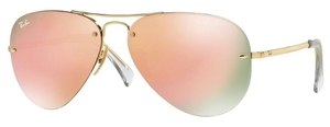 Ray Ban RB3449 Gold with Pink Mirror Lenses