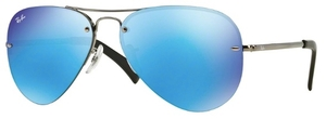 Ray Ban RB3449 Gunmetal with Light Green Mirror Blue Lenses