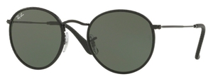 Ray Ban RB3475Q ROUND CRAFT Leather Black with Green Lenses