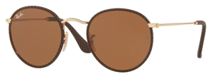 Ray Ban RB3475Q ROUND CRAFT Leather Brown with Brown Lenses