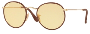 Ray Ban RB3475Q ROUND CRAFT Leather Light Brown with Yellow Photocromatic Lenses
