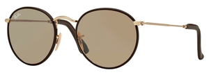 Ray Ban RB3475Q ROUND CRAFT Matte Arista/Brown Leather with Crystal Brown Lenses
