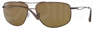 Ray Ban RB3490 Matte Brown with Polarized Brown Lenses