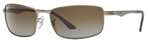 Ray Ban RB3498 Matte Gunmetal with Polarized Grey Gradient Brown Lenses