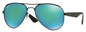 Ray Ban RB3523 Matte Black with Green Mirror Green Lenses