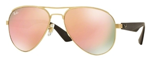Ray Ban RB3523 Matte Gold with Light Brown Mirror Pink Lenses