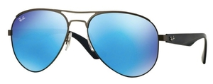 Ray Ban RB3523 Matte Gunmetal with Light Green Mirror Blue Lenses