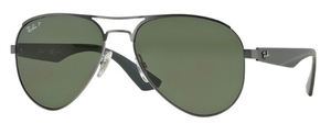 Ray Ban RB3523 Matte Gunmetal with Polarized Green Lenses