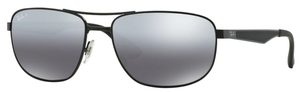 Ray Ban RB3528 Matte Black with Polarized Grey Mirror Silver Gradient Lenses