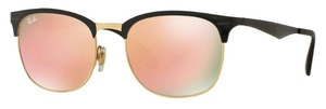 Ray Ban RB3538 Top Shiny Black on Gold with Light Brown Mirror Pink Lenses