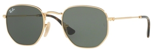 Ray Ban RB3548N HEXAGONAL Gold with Green Lenses