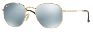 Ray Ban RB3548N HEXAGONAL Gold with Grey Flash Lenses