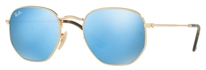 Ray Ban RB3548N HEXAGONAL Gold with Light Blue Flash Lenses