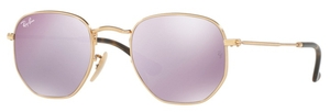 Ray Ban RB3548N HEXAGONAL Gold with Wisteria Flash Lenses
