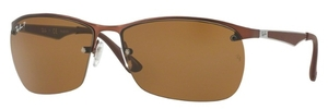 Ray Ban RB3550 Matte Dark Brown with Polarized Brown Lenses