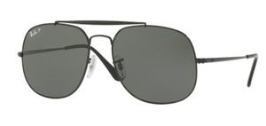Ray Ban RB3561 GENERAL Black with Polar Green Lenses