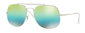 Ray Ban RB3561 GENERAL Silver with Green Mirror Blue Gradient Green Lenses