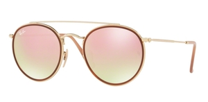 Ray Ban RB3647N Gold w/ Gradient Brown Mirror Pink Lenses