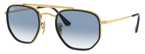 Ray Ban RB3648M The Marshall II Gold with Crystal Clear Gradient Blue Lenses
