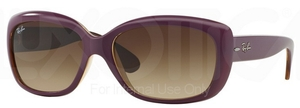 Ray Ban RB4101 Jackie Ohh Top Matte Violet on Transparent Sand w/ Gradient Brown Lenses  613413