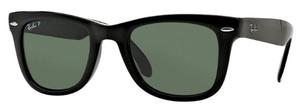 Ray Ban RB4105 Folding Wayfarer Black w/ Crystal Green Polarized Lenses