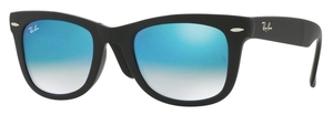 Ray Ban RB4105 Folding Wayfarer Matte Black with Crystal Mirror Gradient Blue Lenses