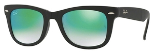 Ray Ban RB4105 Folding Wayfarer Matte Black with Crystal Mirror Gradient Green Lenses