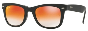 Ray Ban RB4105 Folding Wayfarer Matte Black with Mirror Gradient Red Lenses
