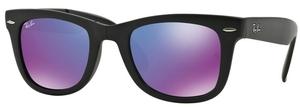 Ray Ban RB4105 Folding Wayfarer Matte Black w/ Grey Mirror Purple Lenses